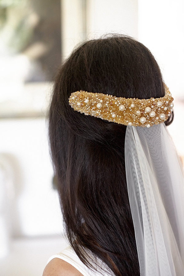 Bridal crystal gold headpiece on hairstyle Jonida Ripani